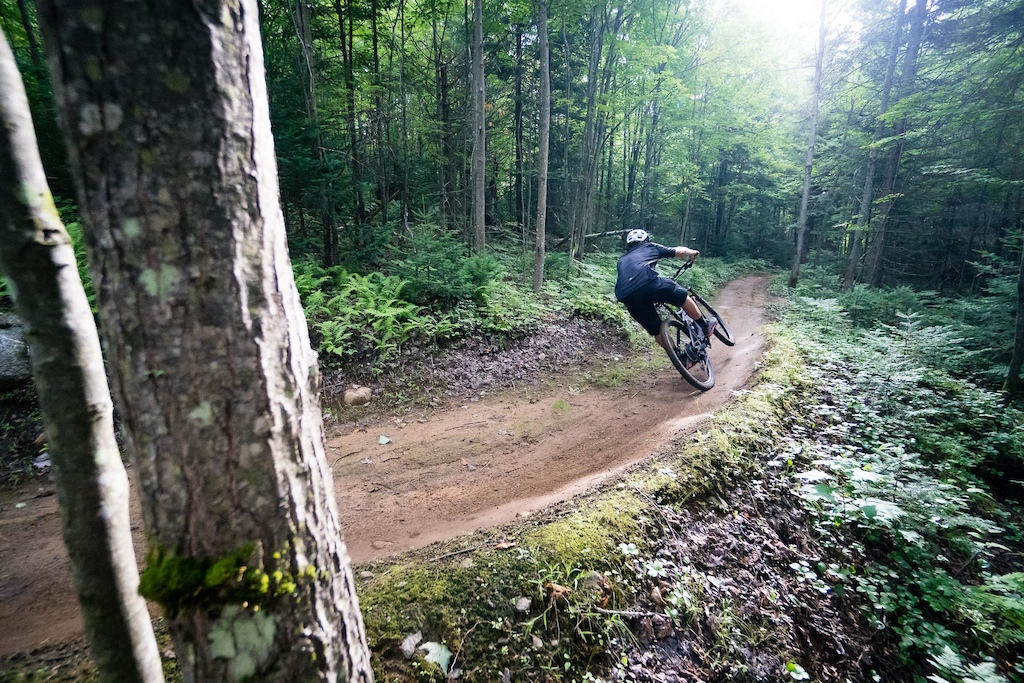 Sam exiting one of many berms at Saint Raymond. PHOTO: Ben Gavelda