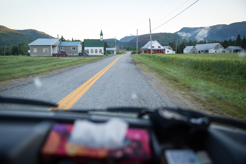 The early am drive through the tiny Shanahan Village on the way to Vallée Bras-du-Nord. PHOTO: Ben Gavelda