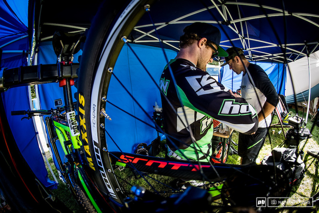 Adam Brayton getting his Gambler prepped with his mechanic in the early morning.