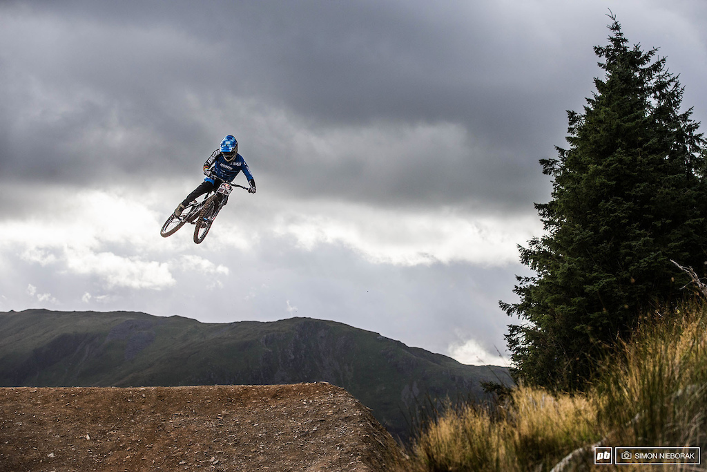 Ruaridh gets comfortable with the biggest jumps on the course.
