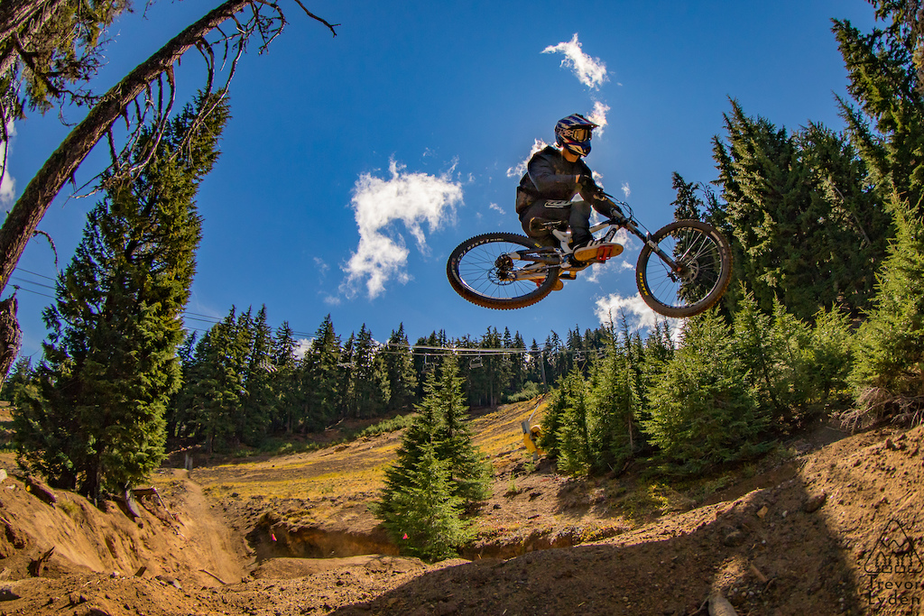 Whippin' it with the shadows at Mt. Bachelor's newest trail Rockfall.