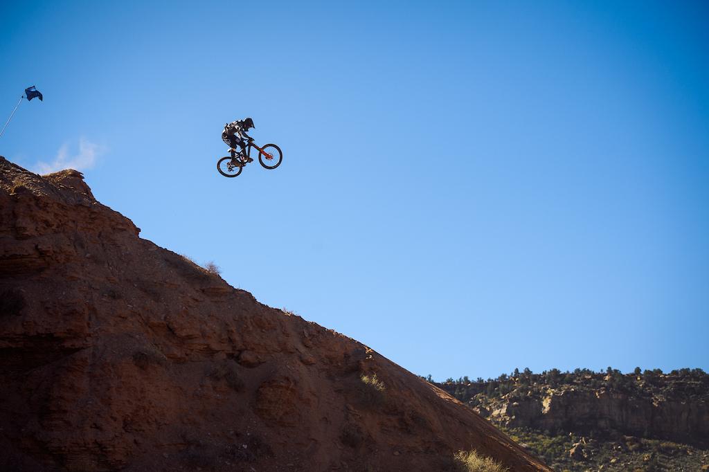 Brett Rheeder sending down the mountain early morning.