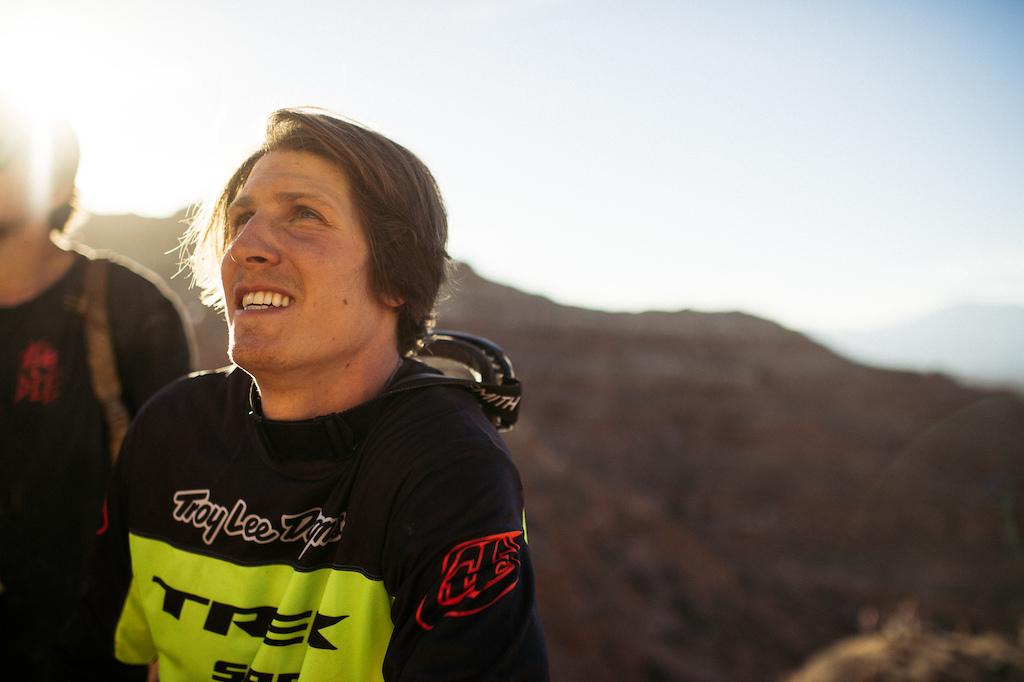 Brandon Semenuk all smiles after stomping his big drop off the ridge.