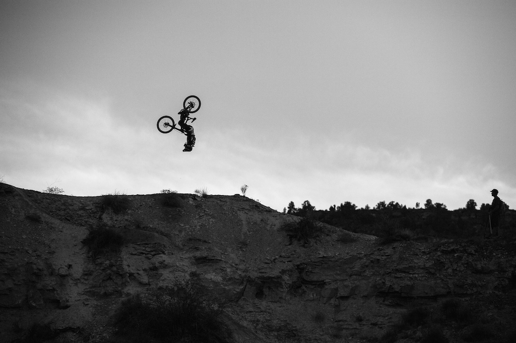 Tyler McCaul flipping off the ridge.