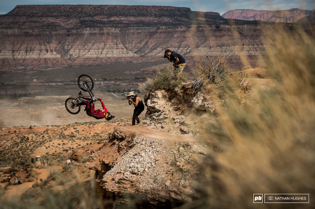 Flat drop flips for the win...  Brandon Semenuk continues to show the world the true potential of mountainbiking.