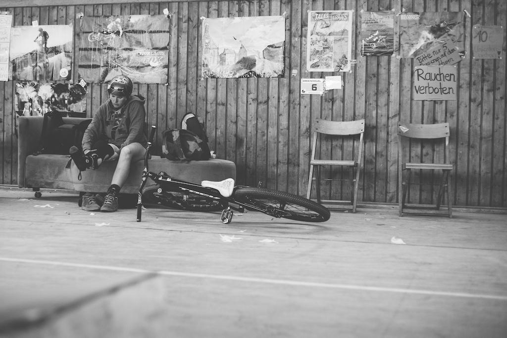 Kathi at her own Indoor Bikepark