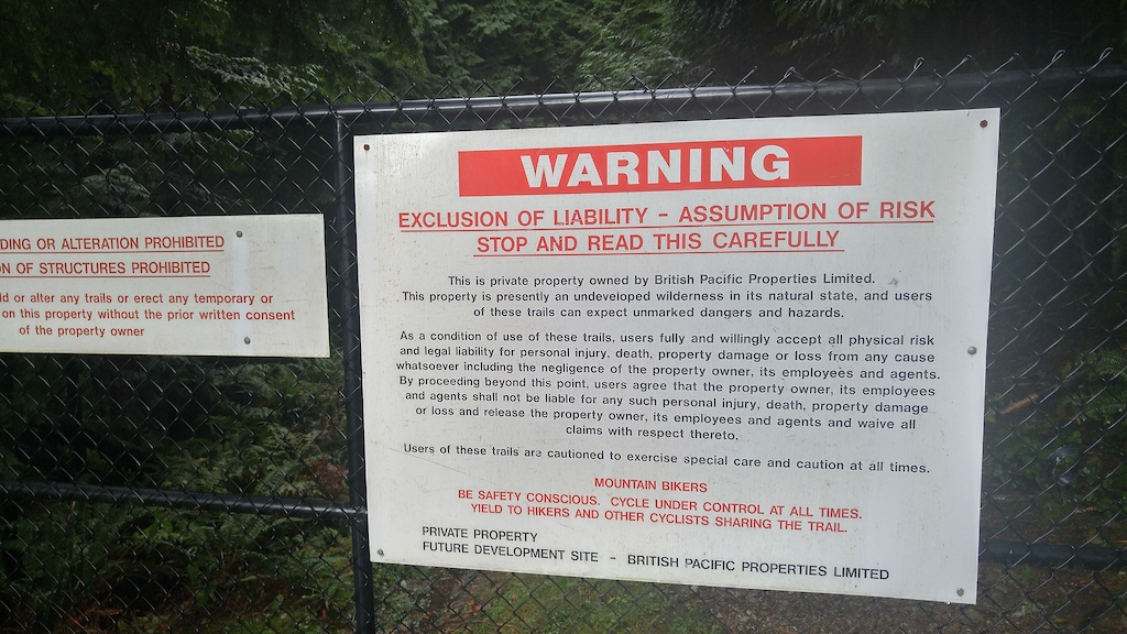 Sign in West Vancouver from British Pacific Properties - NO TRESPASSING.  On 3rd Switchback