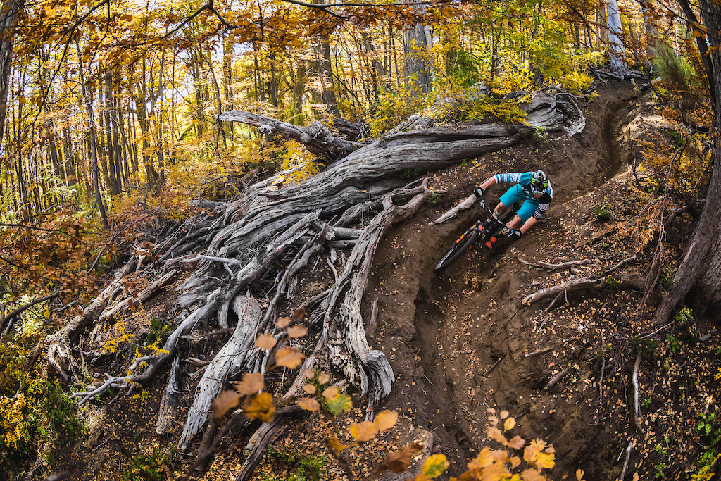 Jared Graves throught eh fall colors of Nevados De Chillan in Chillan, Chile April 2014