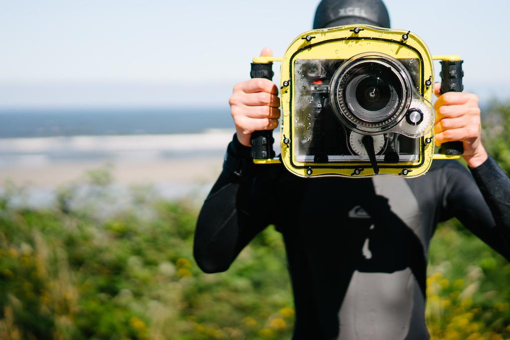 Underwater filming setup.