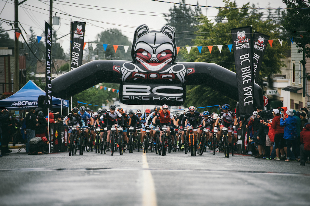 Day 1 of 7 Race Start for the BC Bike Race. Photo Margus Riga