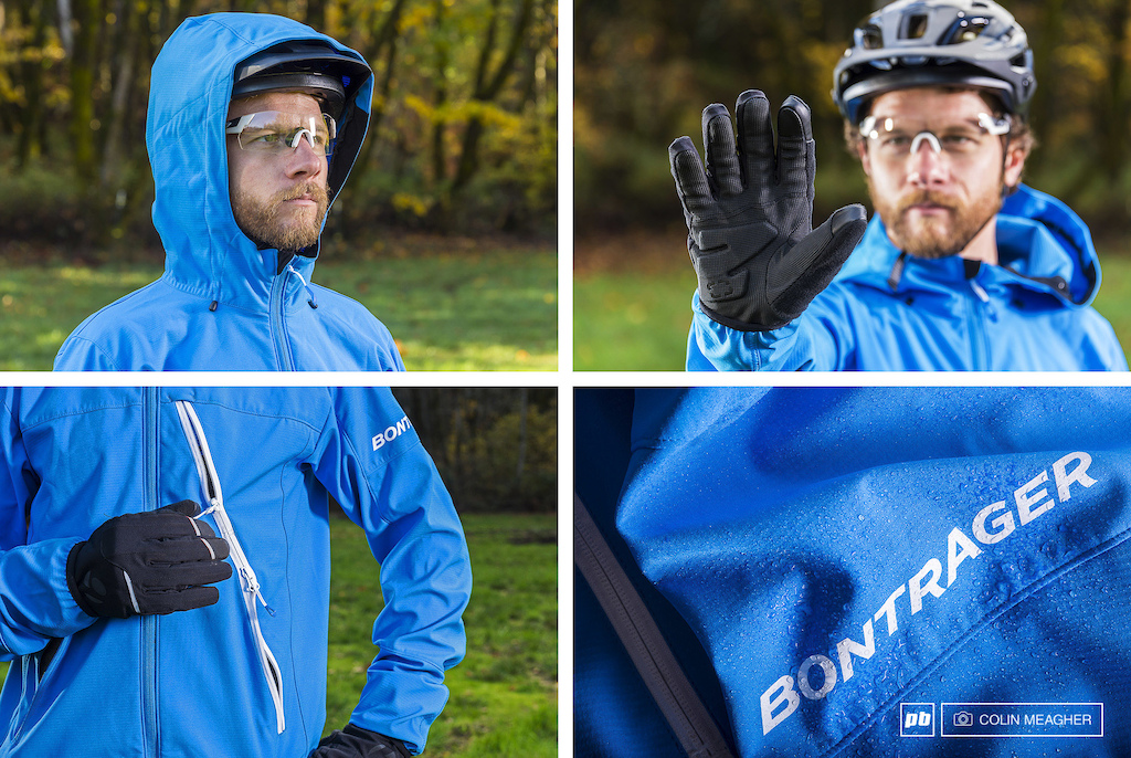 Details on Bontrager s Lithos softshell hood Stormshell glove MSRP 99.99 chest pocket and torso vent and water resistant softshell fabric.