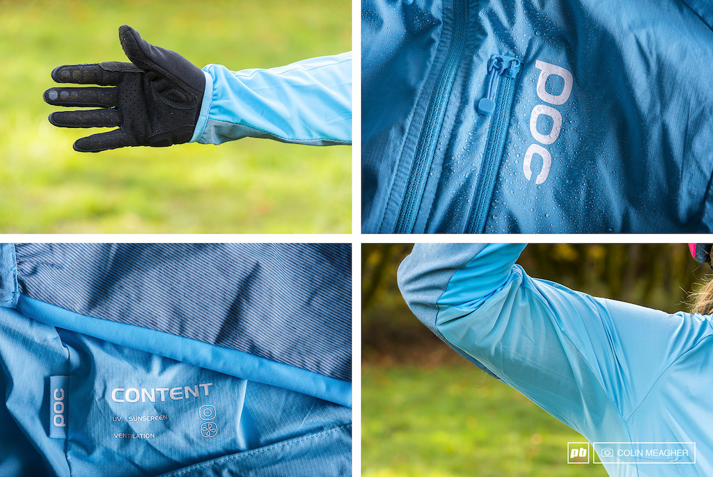 Details on the POC Resistance Mid WO Jacket the sleeve has an elastic band at the cuff to keep it in place DWR coating on the main shell fabric on the sleeves and detail of the elbow fabric.
