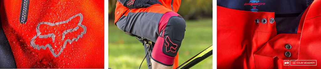 Details of the Downpour Short DWR coating for water proof breathability semi fitted opening at the knee that permits the use of knee guards and the 3 snap adjustable waist.