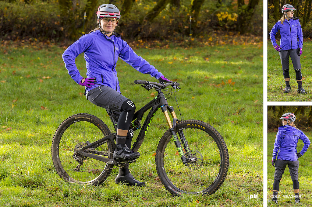 Nikki Hollatz with Raceface s Scout Softshell Jacket and DIY shorts. Accessories include Smith Forefront non Mips helmet Raceface Khyber Glove Charge Subzero Knee guards Raceface Trigger 4 socks and Shimano MW7 Winter shoes.