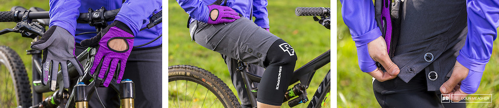 Detail on the Raceface women s offering touch screen sensitive but not insulated Khyber gloves in grape the Charge Subzero abrasion knee guards and the buttons on the cuff offer a bit more room for bulkier knee guards.