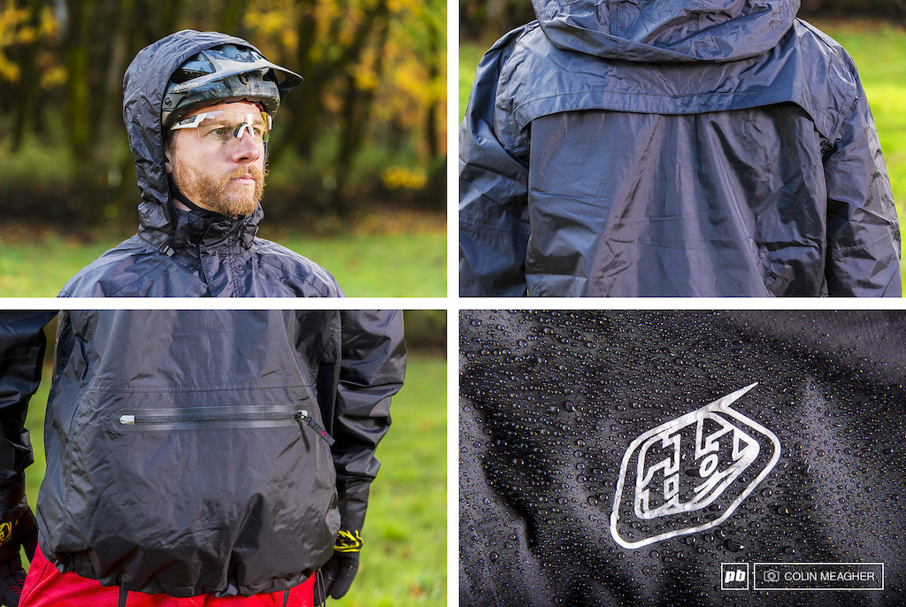 Details on the Ruckus Jacket. The fit of the hood is bang on over the helmet but not in the way when not deployed. The TPU definitely offers waterproof protection and with the venting across the back it breathes reasonably well. The rear zippered pocket is decently sized and isn t noticeable when wearing a hydration pack.
