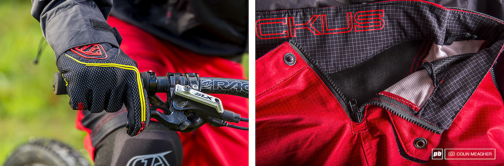 Detail of the Ace Cold weather Glove and the Ruckus Ripstop shorts. The cold weather glove was reasonably warm and touch screen sensitive. The shorts are securely fastened with a single snap.
