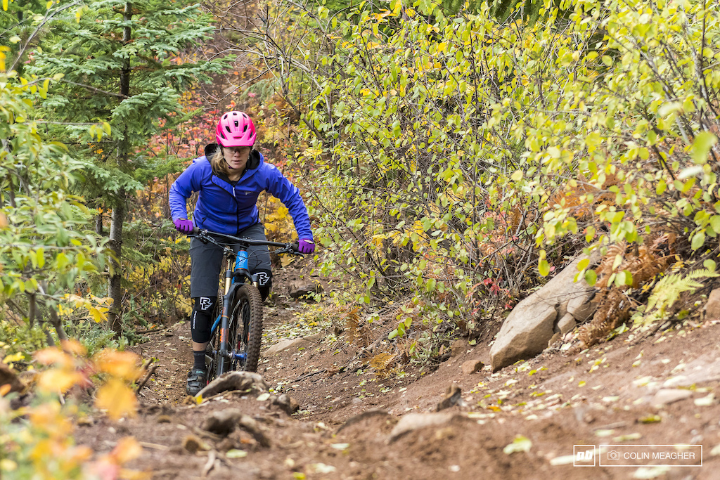 Nikki Hollatz in Raceface's Scout Softshell and DIY short.