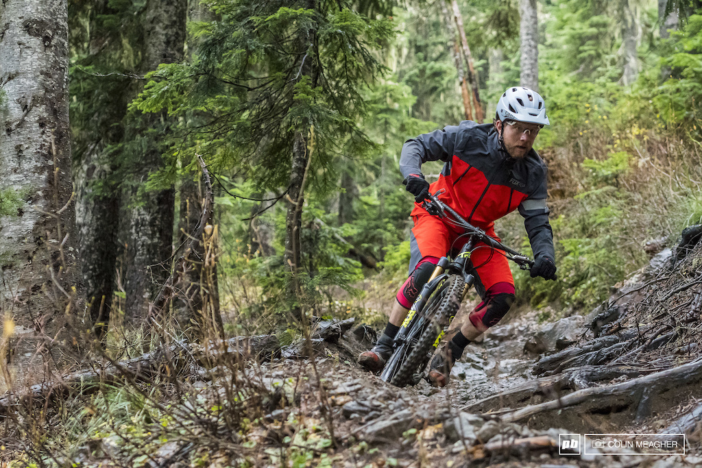 Justin Fernandes in the Fox Head Downpour Pro Jacket and Downpour short.