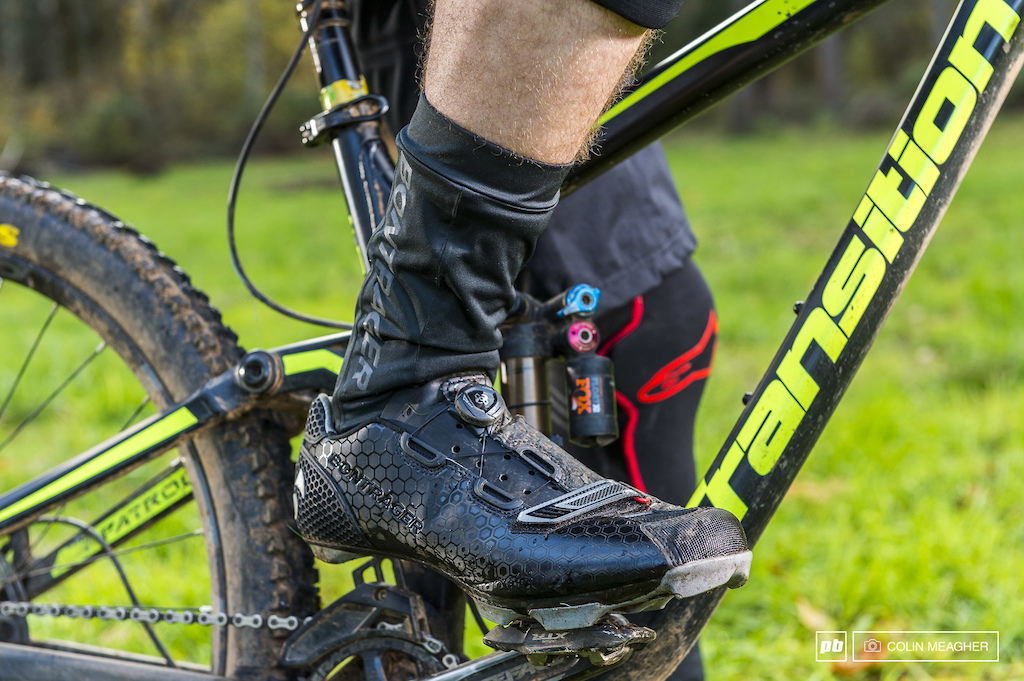Bontrager s Stormshell Oversock and Cambion Mountain Shoes.