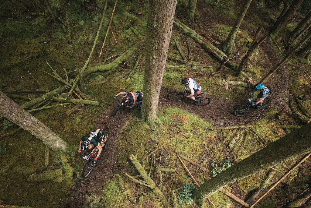Stephen Ettinger in the Leaders jersey leading the fast guys through some stunning single track. Photo Margus Riga