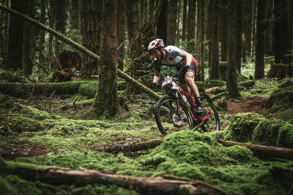 Quinn Moberg is a Squamish local and is very fast in these woods. A couple stage wins and a 4th overall. Not bad Photo Margus Riga