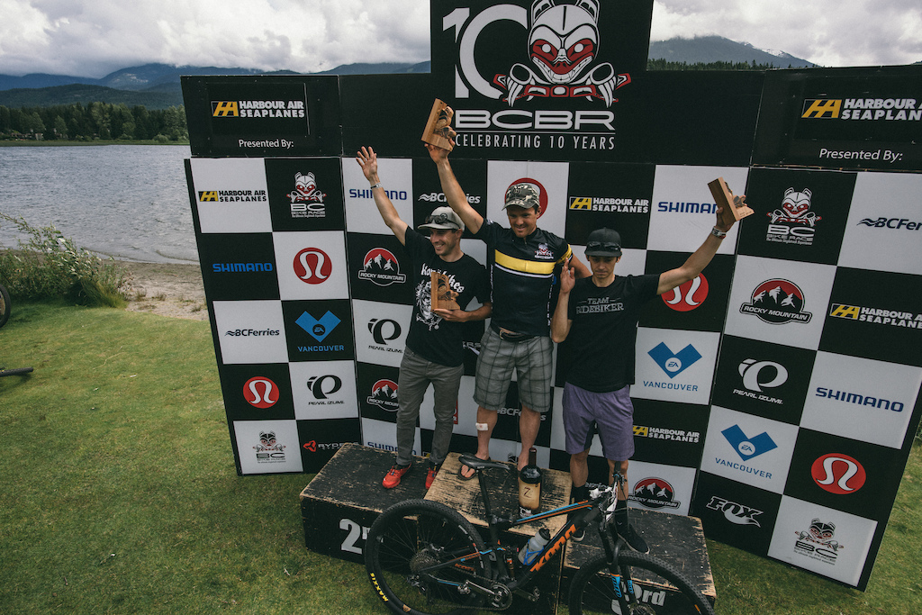 Your overall Pro Mens podium Cory Wallace 1st Spencer Paxson 2nd and Stephen Ettinger 3rd all on pre-production XT Di2 Photo BCBR Margus Riga