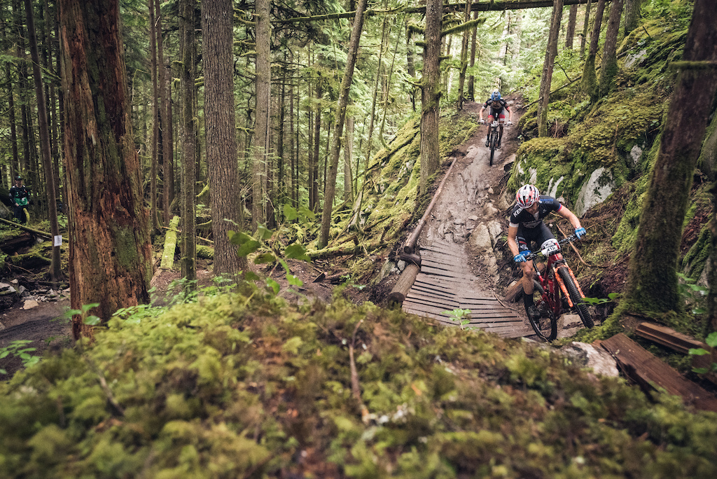 Stephen Ettinger rolling through just one of the many spectacular trails during the BC Bike Race. Photo BCBR Dave Silver
