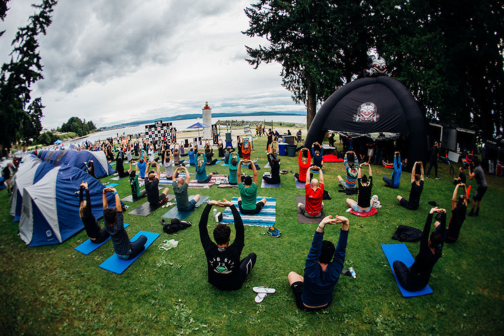 For those not crushed by the previous days ride there was group yoga available. Photo BCBR Norma Ibarra LaPir0