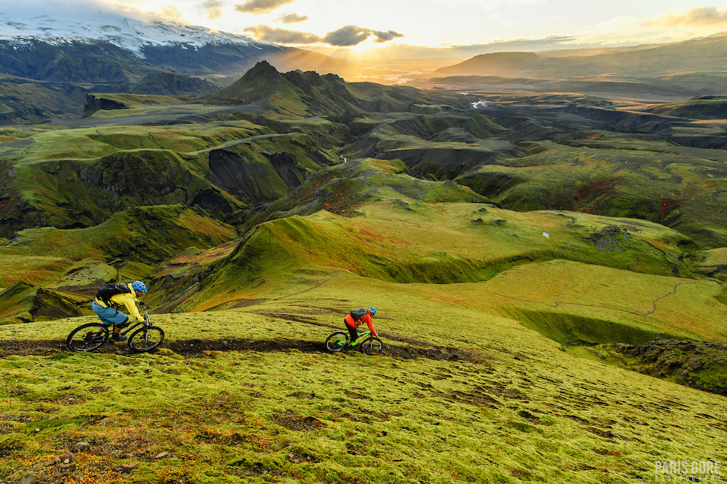 KC Deane and Geoff Gulevich in Þórsmörk, Iceland down a trail that is rarely ridden and never had been photographed for mountain biking. It's always exciting to be somewhere and know you are one of the first to photograph MTB in the location. We lost the light behind the clouds which I was a little bummed about but it actually turned out for the better.