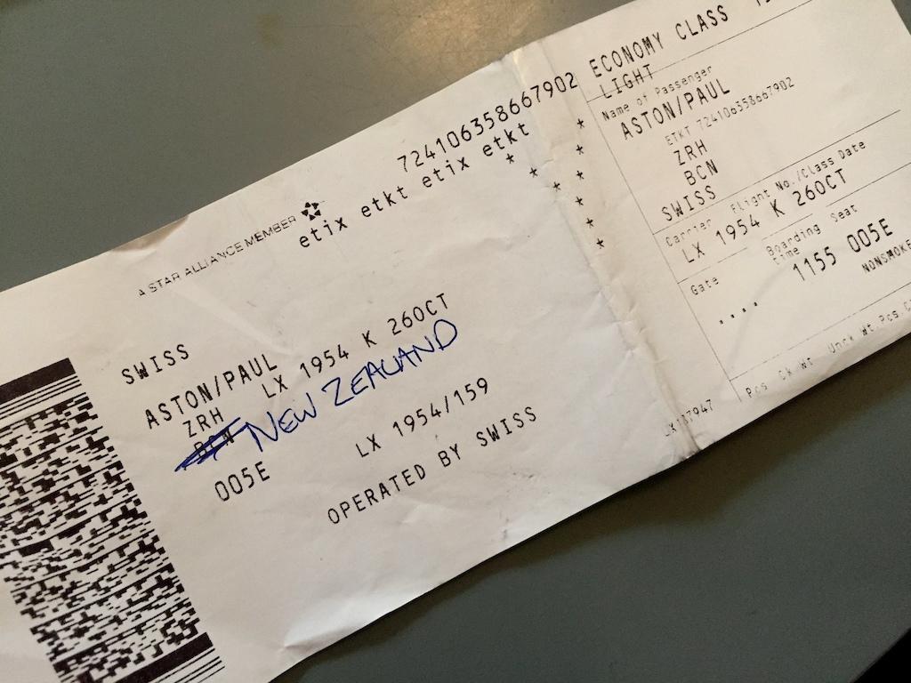 Fake ticket to NZ