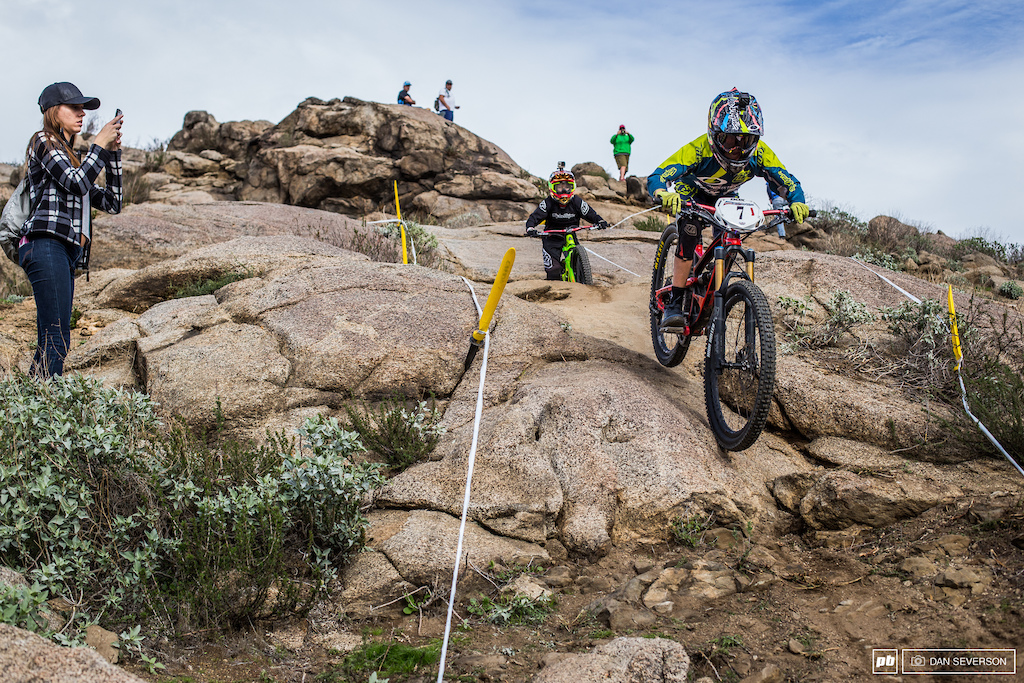 The Youth is on the move. Ryan McGarrity charged down the steep rock section with ease.