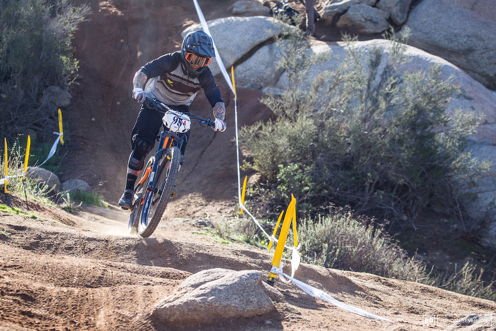 Another rider who opted to ride his trail bike setup was Barry Nobles. Barry s bike handling skills easily compensated for the lack of super-cush suspension and landed him third spot on the box.