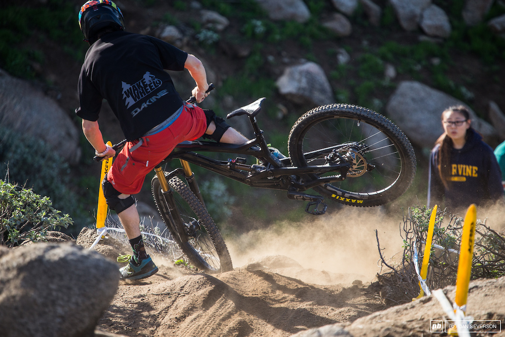 The technical downhill rock section was definitely keeping riders on their toes as demonstrated here.