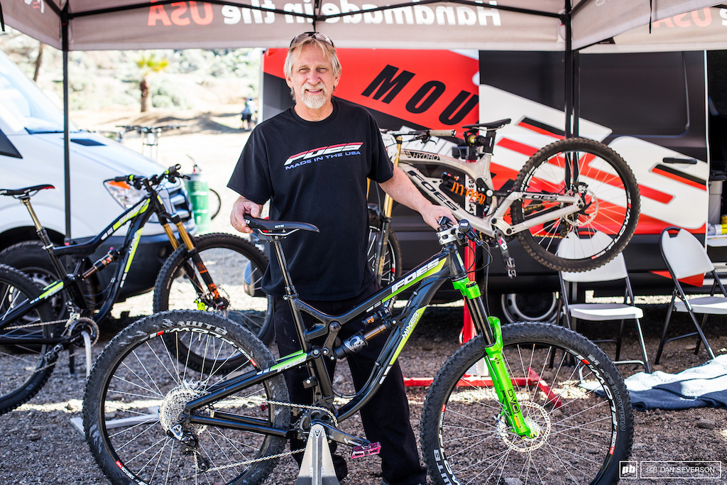 Expert bike fabricator Brent Foes showing off his latest Mixer model and was there to support his team.