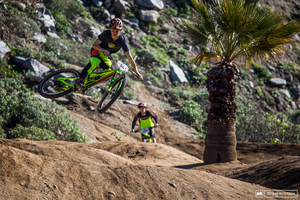 No Fontana weekend would be complete without a jump session on the flow track. Here Kaden Pankow celebrates his win in the Open Jr. 14 amp under category with a stylish whip.