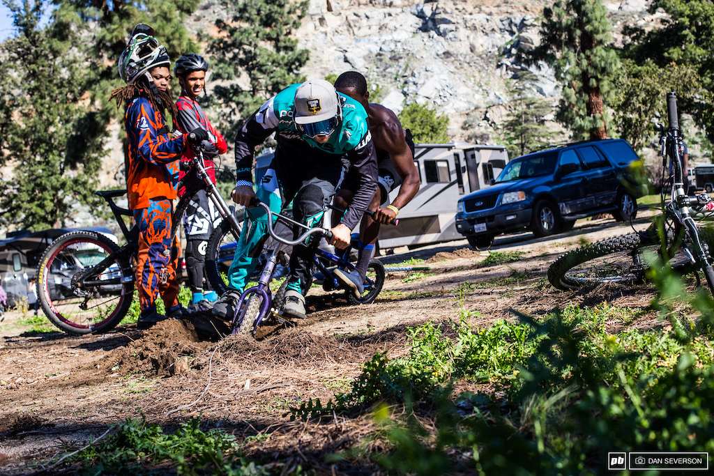 The downhill race was fun and all but the real action took place in the parking lot on the mini bike rut track. It was nothing but high stakes and top of the line equipment. Here Cody Johnson is hot on the heels of Kyle Doyle. Until next time Fontucky - we out