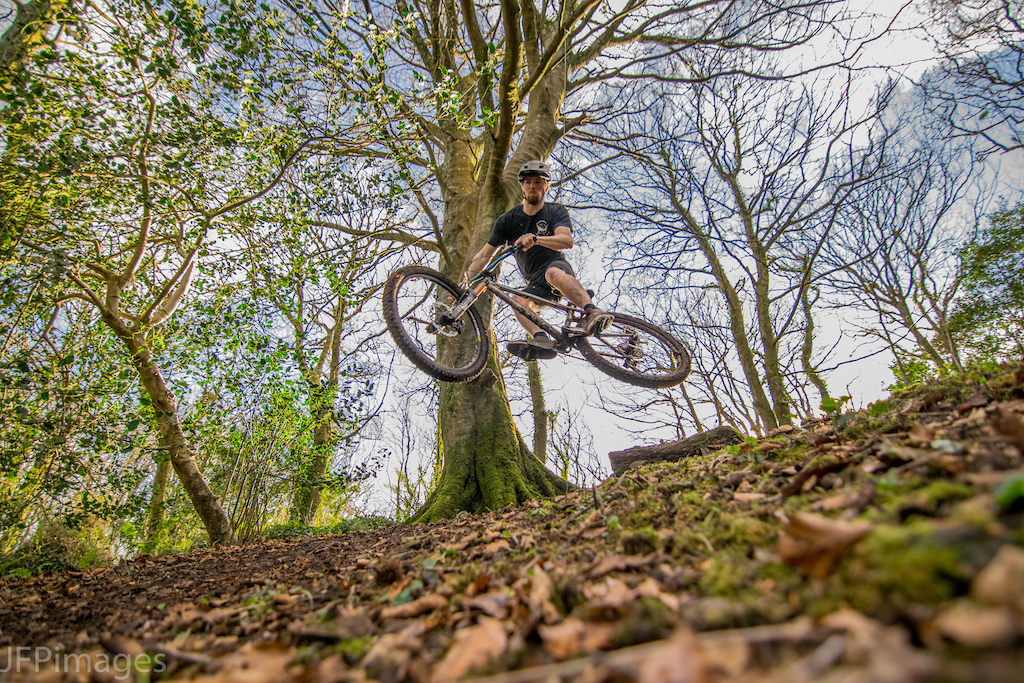 Torran sending it off one of the jumps in Tolver woods near Penzance.