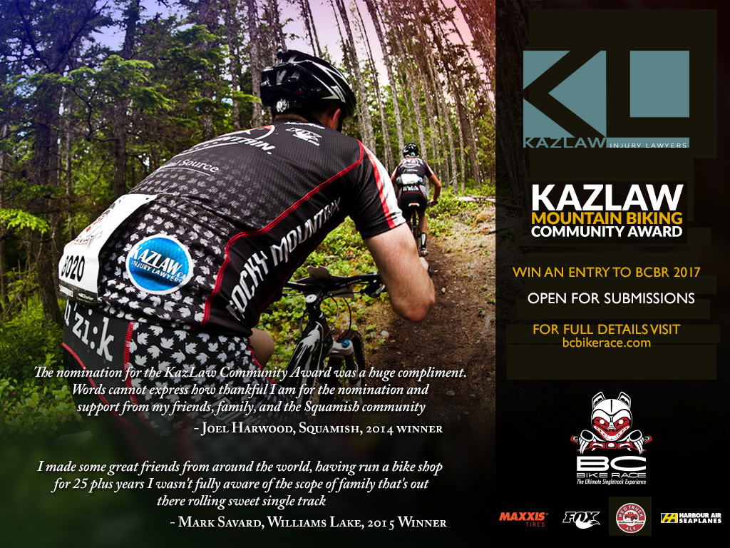 39626b1a89b BC Bike Race, 'the Ultimate Singletrack Experience' and Kazimirski Law  Corporation are giving away one entry to the SOLD OUT 2017 BC Bike Race.