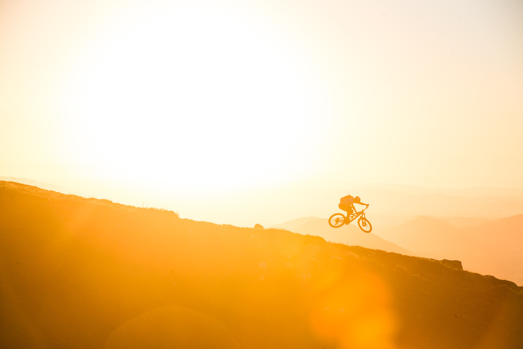 Robin Wallner at sunset on the slopes of Vulcan Villarica.