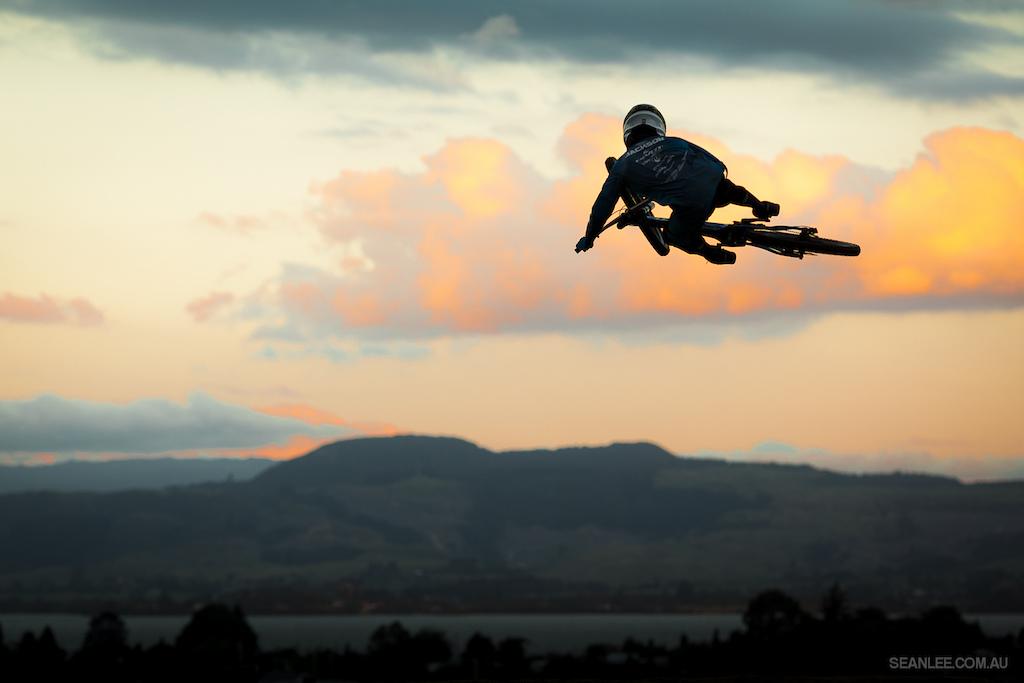 Eliot laying it flat into the sunset at the Crankworx Rotorua whip-off.