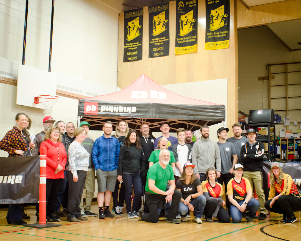 Calgary stop of the 2017 Pinkbike Share the Ride program at the Sacred Heart Elementary school..