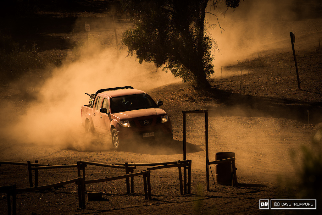 It's not just the bikes that are drifting about in the dust.  The small army of 4x4's used to shuttle riders up some of the massive Adean peaks like to get loose as well.