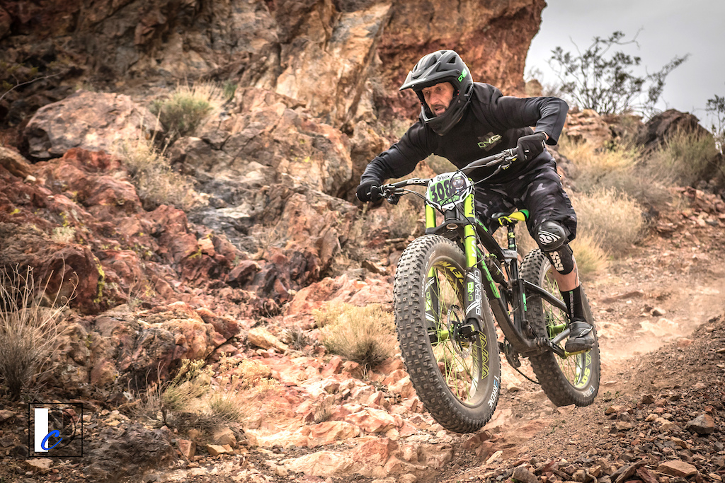 Chris Giovannelli DVO Foes Terrene T rode what is possibly the most exotic fatbike on the planet to second place in Cat 3 Men 40-49.