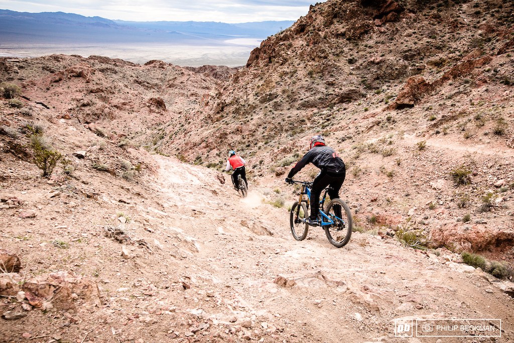 The top section of this course is virtually solid rock with breathtaking exposure. It empties out into a series of fast ridges and sandwashes all with plenty of singletrack.