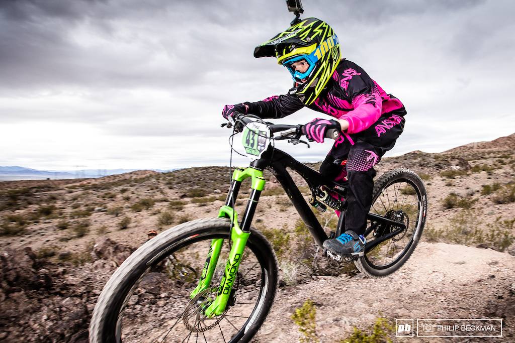 A surprising number of youngsters have the talent to tackle Bootleg Canyon and the most skilled in the Junior Men 13-14 class on this day was Maison Duncan DV 100 amp 5.10 ANSR .