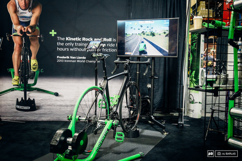Virtual riding is huge right now. Kinetic were one brand that had their trainer hooked up to the virtual cycling world for participants to try out.