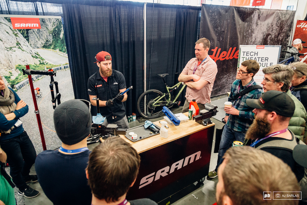 SRAM were on hand conducting a number of quick workshops. They had a solid audience.