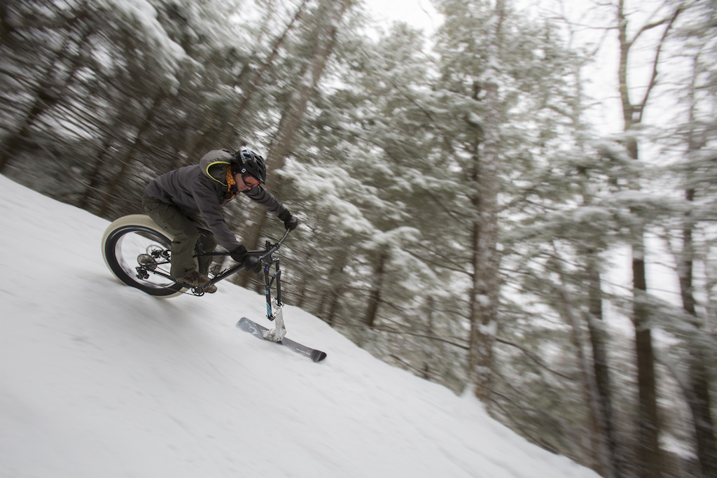 Brooke Skatchard brought a fleet of bikes equipped with his Fatbike Skis. He also won the race by almost a minute on a four minute course. These things rip