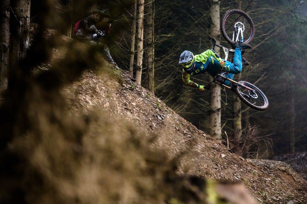 Kaos flipping his DH bike for the first time during the 50 01 track launch at Revolution Bike Park. Photo by Moonhead Media